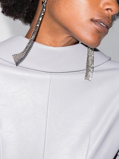 silver tone Pixel chain mail earrings