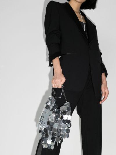 Silver tone sequin shoulder bag