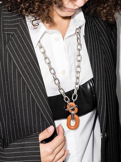 silver tone XL link necklace