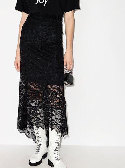 split-hem lace midi skirt