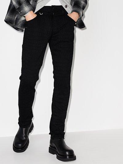Lennox croc effect slim jeans