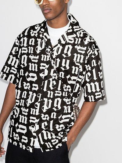 logo-print short-sleeve bowling shirt