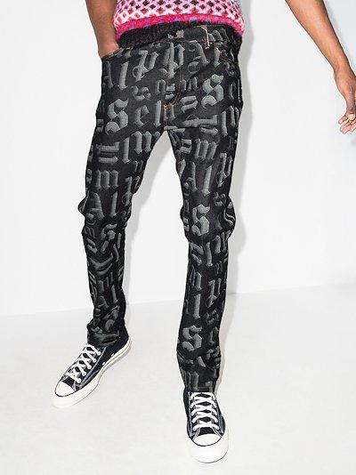 monogram print bootcut jeans