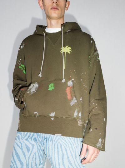 paint-splatter palm-print hoodie