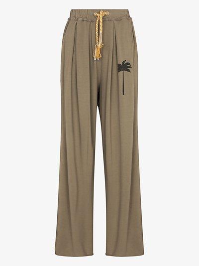 palm tree print wide leg trousers