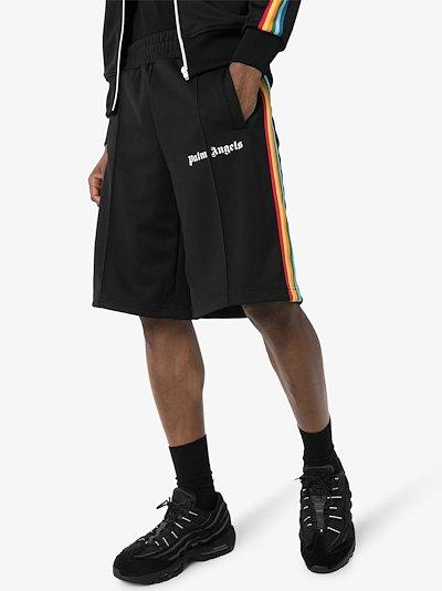 rainbow stripe track shorts