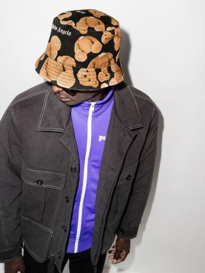 X Browns 50 black bear print bucket hat