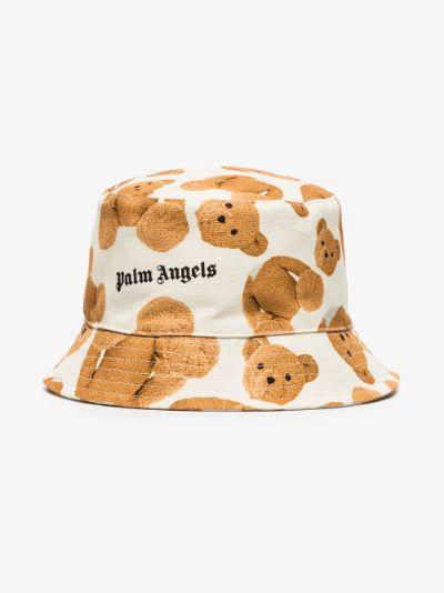 X Browns 50 white bear print bucket hat