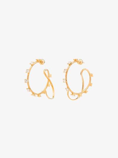 gold-plated crystal hoop earrings