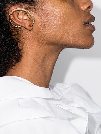 gold-plated Upside Down crystal hoop earrings