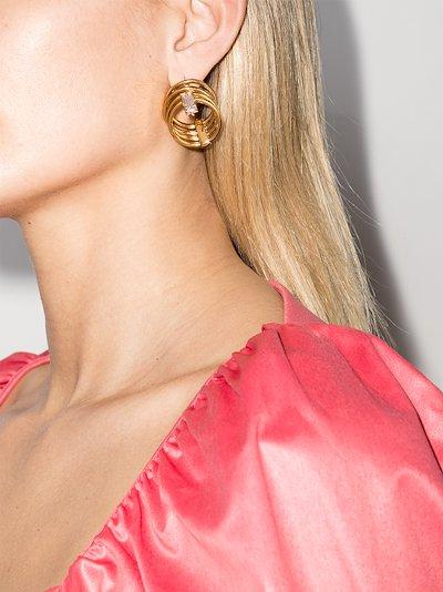 gold vermeil Solar crystal layered hoop earrings