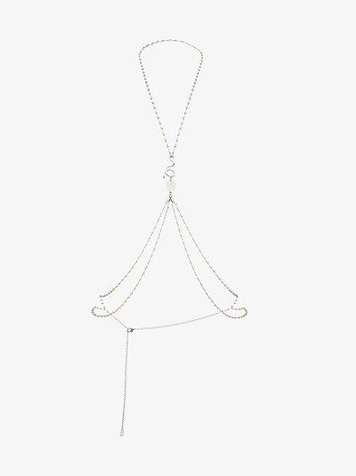 silver tone crystal body chain