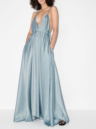 Bella plunging V-neck silk gown
