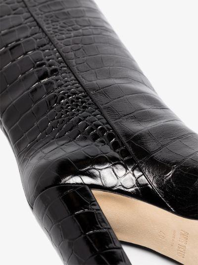 black 100 mock croc leather boots