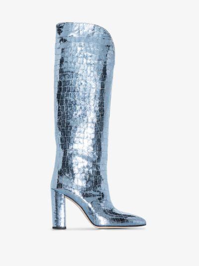 blue 100 mock croc leather boots