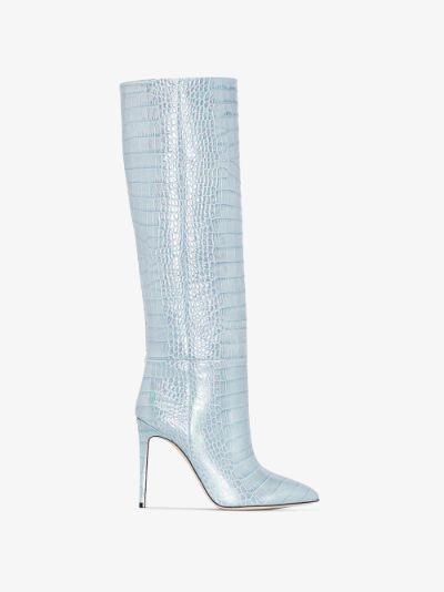 blue 110 mock croc leather boots