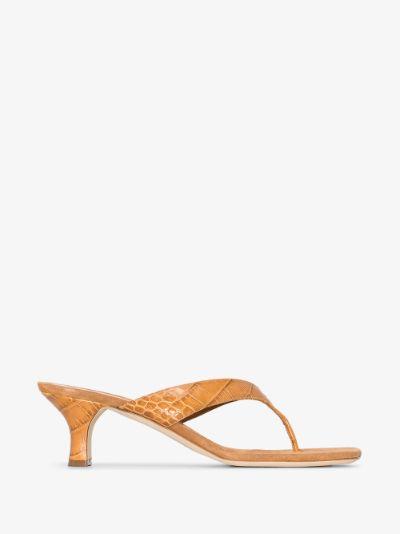 Brown Portofino 55 mock croc leather sandals