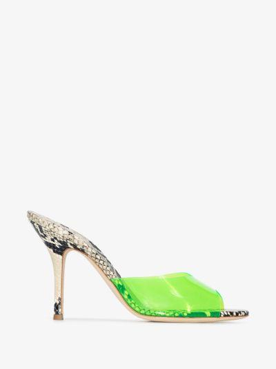 Green Penelope 95 Snake Print Leather sandals