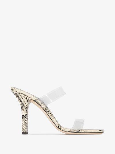 grey Bella 95 snake print sandals