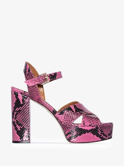 pink 120 snake print platform leather sandals
