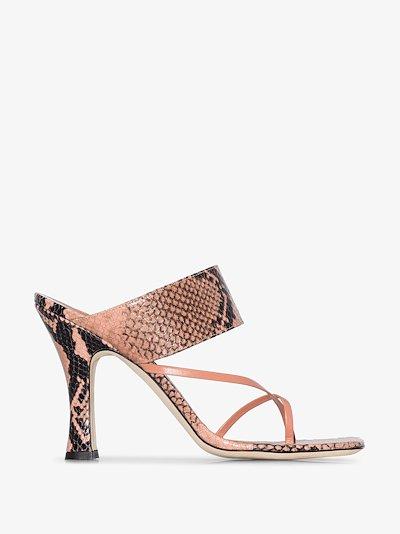 pink 95 snake print leather sandals