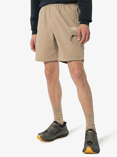 beige Off Race Shield shorts