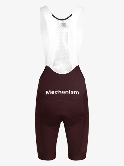 burgundy and white Mechanism Cycling Bib Shorts