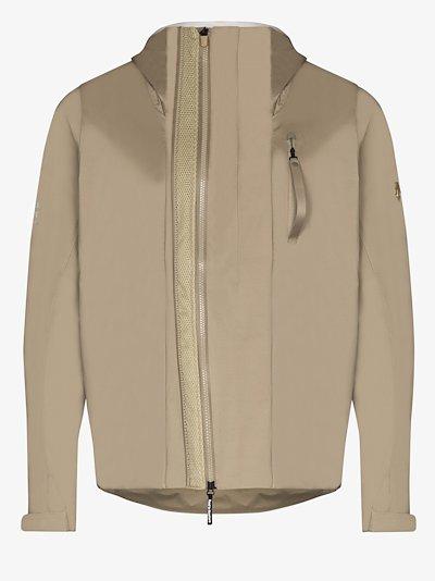 X Descente Allterrain brown hooded shell jacket