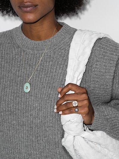 9K rose gold Simone turquoise diamond necklace