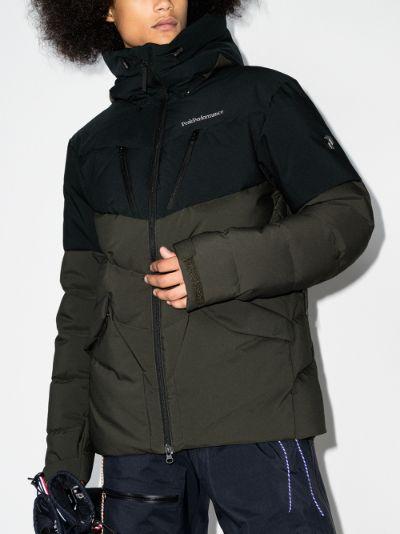 black and green Frost ski parka coat