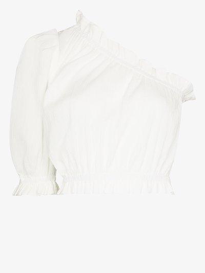one shoulder puff sleeve crop top