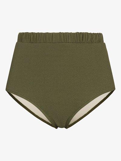Pear high waist ruched bikini bottoms
