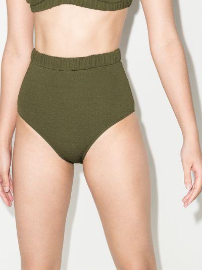 Pear ruched high waist bikini bottoms
