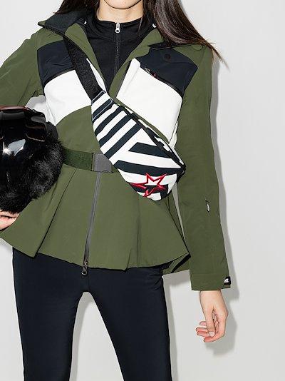 black and white chevron stripe cross body bag