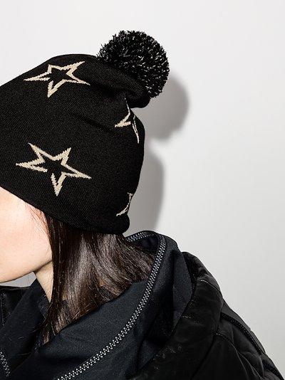 Black Floro merino wool beanie hat
