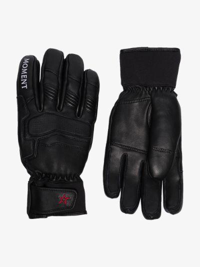 Black leather ski gloves