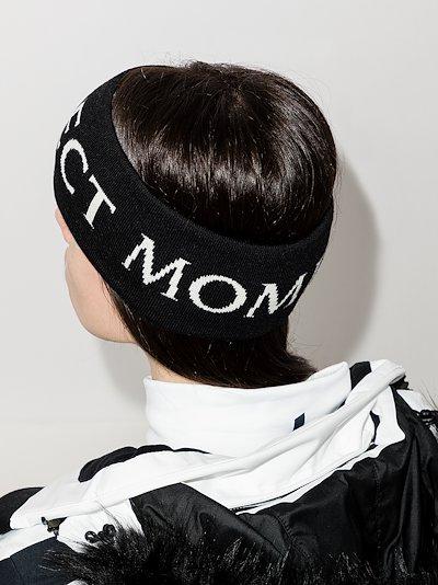 Black merino wool logo headband