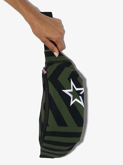 green and black chevron stripe cross body bag