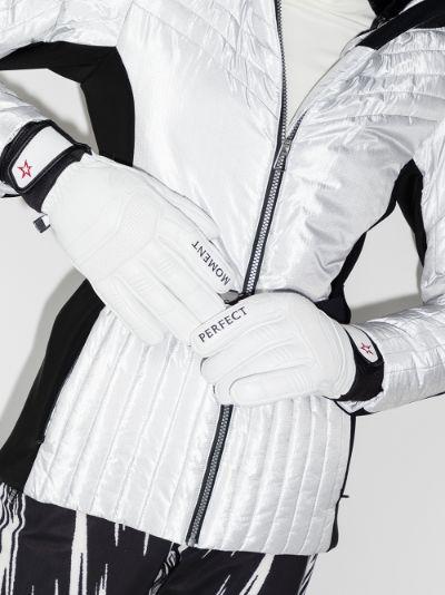 White leather ski gloves