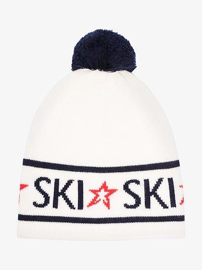 white ski logo merino wool beanie hat