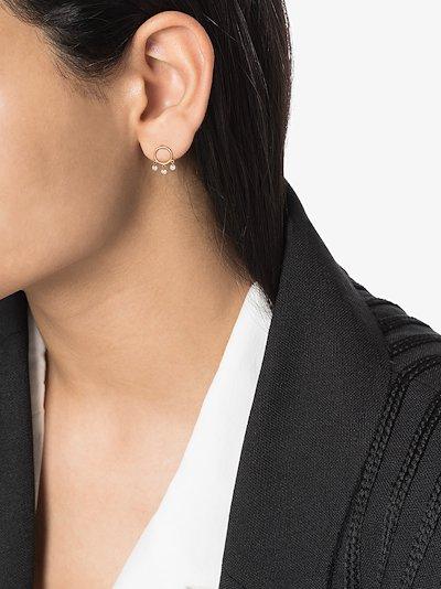18K yellow gold Bohème diamond hoop earring