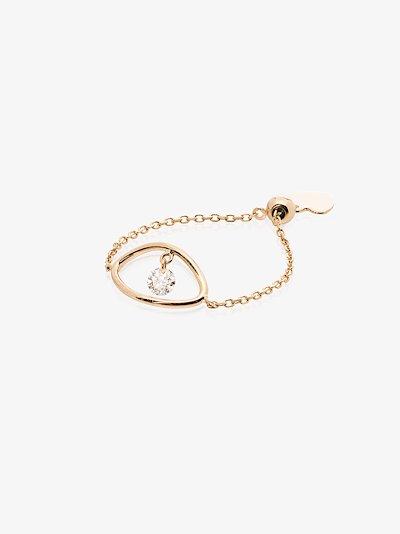 18K yellow gold Eye diamond chain ring