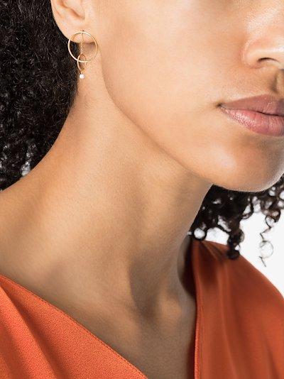 18K yellow gold Orbit double hoop diamond earrings