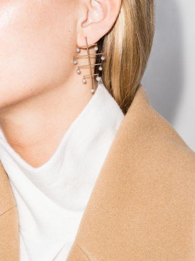 18K yellow gold pearl tree earrings