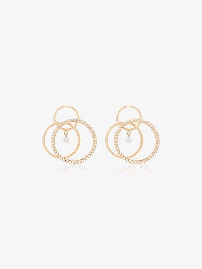 18K yellow gold triple circle diamond earrings