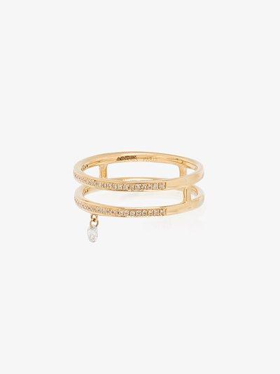18K yellow gold Zeus double band diamond ring