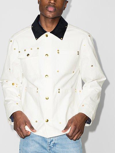 studded button-up organic cotton jacket