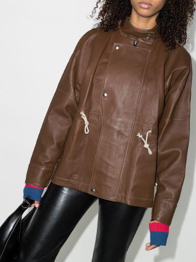 drawstring waist leather jacket