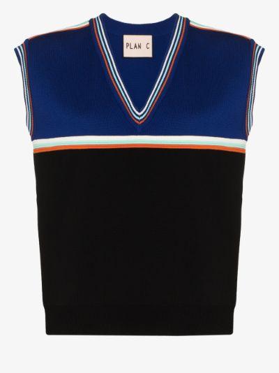 knitted V-neck vest top