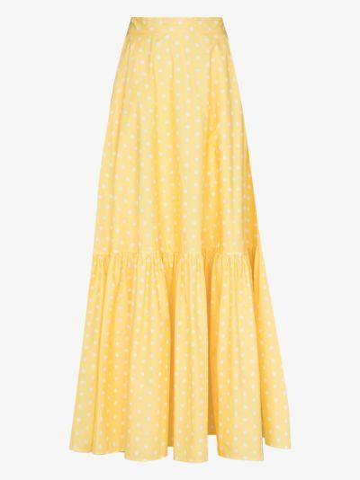 polka dot tiered maxi skirt